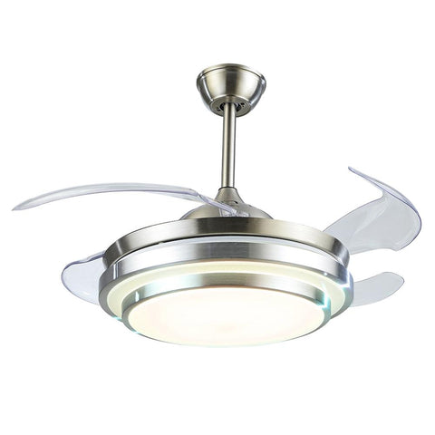 Fandian Modern Retractable Ceiling Fan Brush Nickel