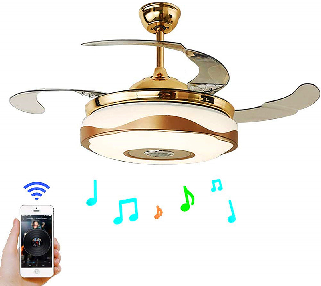 "42"" Smart Bluetooth Music Player Ceiling Fans with LED Colorful Light Retractable Blades Chandelier"