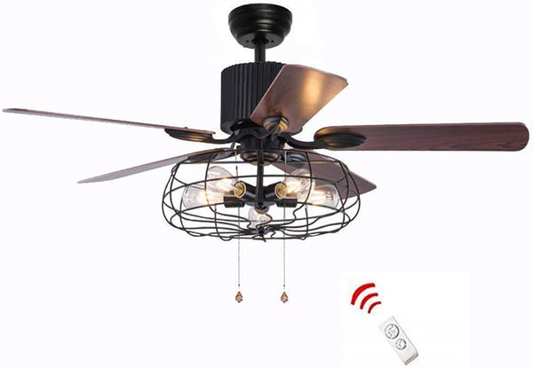 52 Inchs Retro Industrial 5 Wood Blade Iron Cage Reversible Motor Remote Control Fan Chandelier