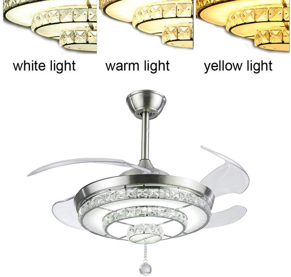 BIGBANBAN Crystal Ceiling Fan with Light and Remote Brush Nickel