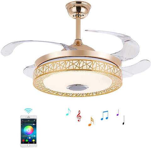 "42"" Indoor Bluetooth Music Play Ceiling Fan Light with 4 Retractable Blades, Remote Control LED Light 3 Colors Switch 3-Speed Silent Motor Fan and Chandelier for Living Bedroom(Artistic)"