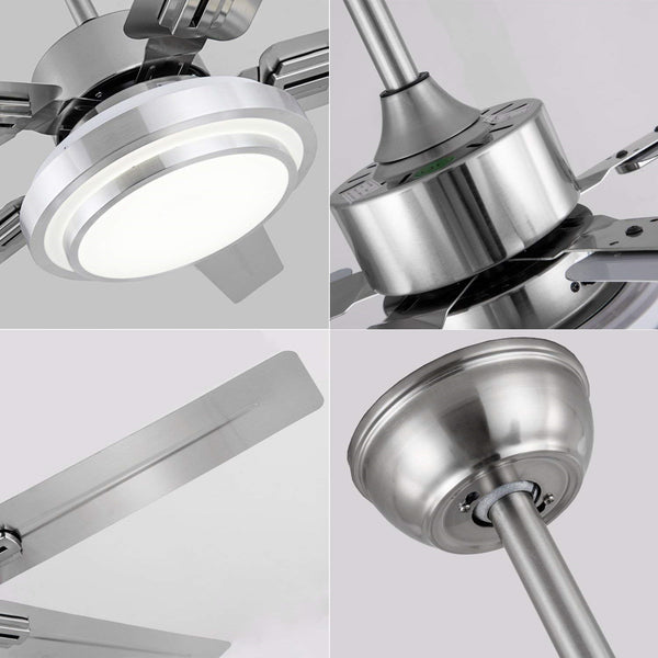 48 Inch 5 Reversible Stainless Steel Blades Remote Three Speeds and Color Changes Lighting Fixture