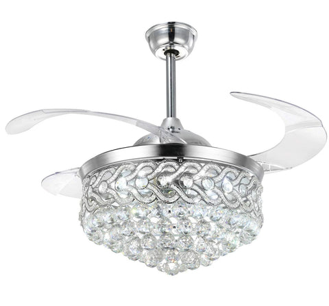 Modern Crystal Chandeliers Ceiling Fan