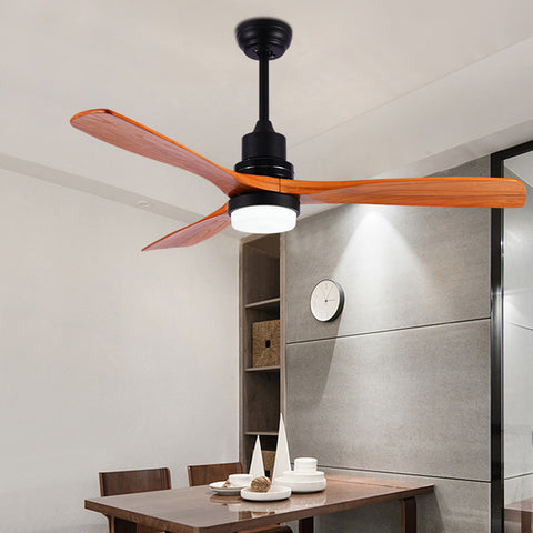 52inch Modern Indoor Ceiling Fan with LED Light and Remote Control 3 Solid Walnut Wood Blades Noiseless for Living Room Kitchen Bedroom Family Dining European Style