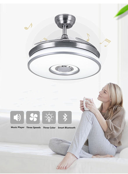 Bluetooth Music Play Ceiling Fan Brush Nickel