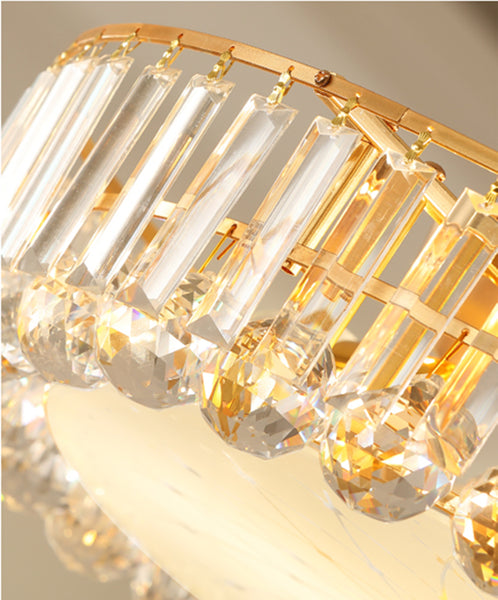 "Luxury Modern K9 Crystal Chandelier Flush Mount LED Ceiling Light Fixture Gorgeous Pendant Lamp for Bedroom Living Room Bar Shop (Dia 31.5"")"