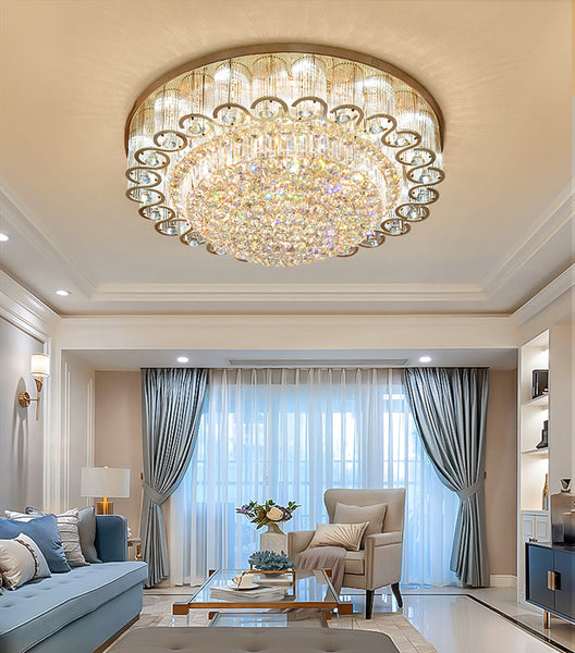 "Luxury Modern K9 Crystal Chandelier Flush Mount LED Ceiling Light Fixture Gorgeous Pendant Lamp for Living Room Bar Shop (Dia 23.6"")"