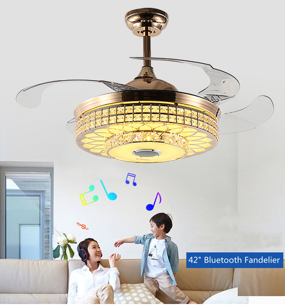Bluetooth Crystal Ceiling Fans Light Kits Included Gold