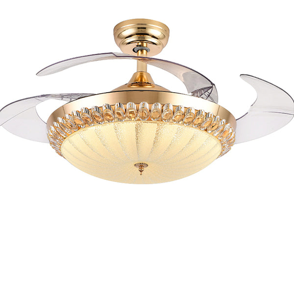 "42"" Indoor Crystal Ceiling Fan with LED Light and Remote Control,Retractable Blades 3 Colors 3 Speeds with Silent Motor Luxury Fandelier for Bedroom Living Room (Gold)"