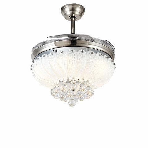 Lotus Crystal Ceiling Fan Light Include Brushed Nickel