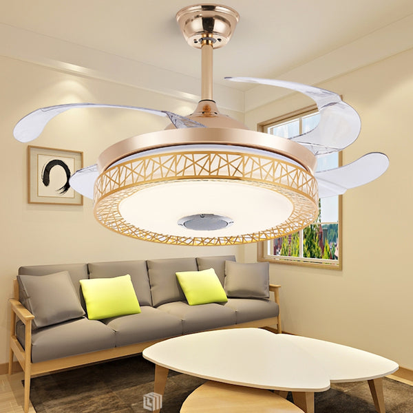 Bluetooth Music Play Ceiling Fan Light Kit Included Gold