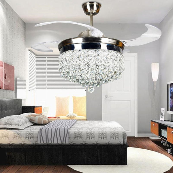 "42"" Modern Crystal Chandeliers Ceiling Fan with Lights Remote Control, Retractable Blades, 3 Color Changes Lighting, Silent Fixtures for Living room, Bedroom"