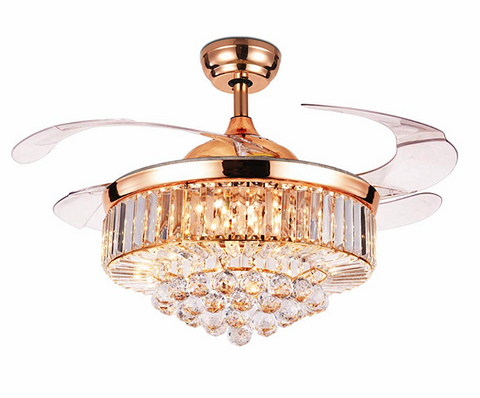 Retractable Fandelier Ceiling Fan Light Included Gold