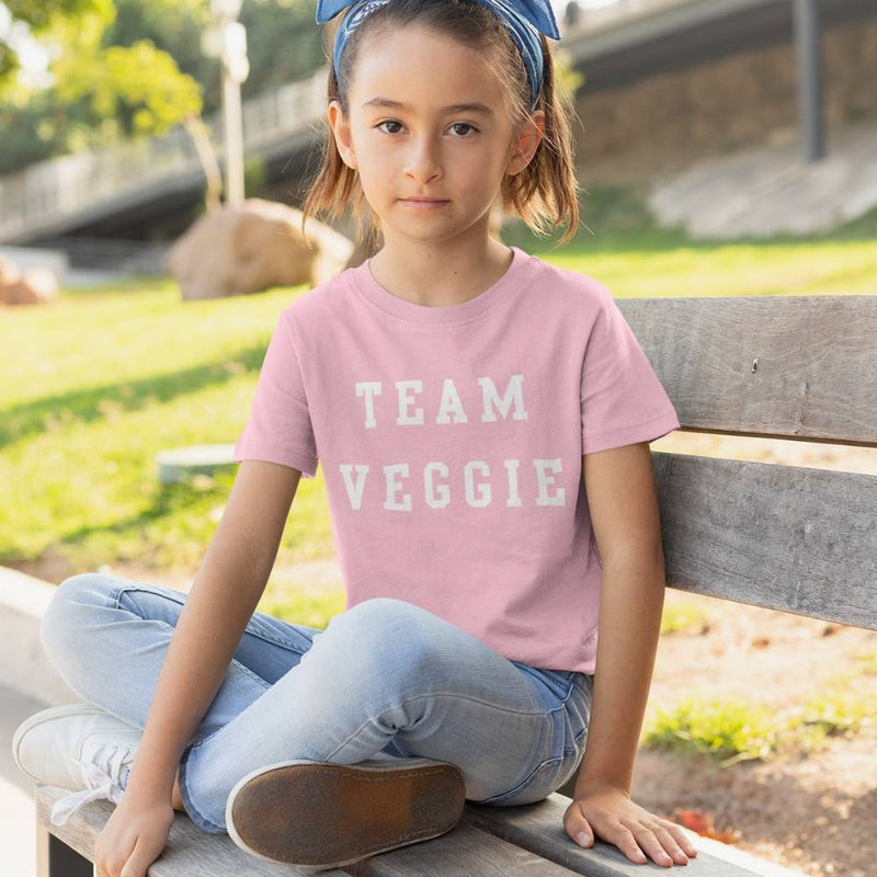 T-shirt Enfant - TEAM VEGGIE - rose en coton bio