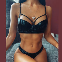 Load image into Gallery viewer, High-Waist Solid black Push-Up bikini set