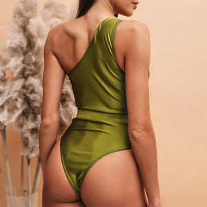 One shoulder Vintage Hollow-Out One-Piece swimsuit