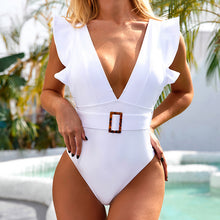 Load image into Gallery viewer, Mossha Belted solid white One-Piece Swimsuit