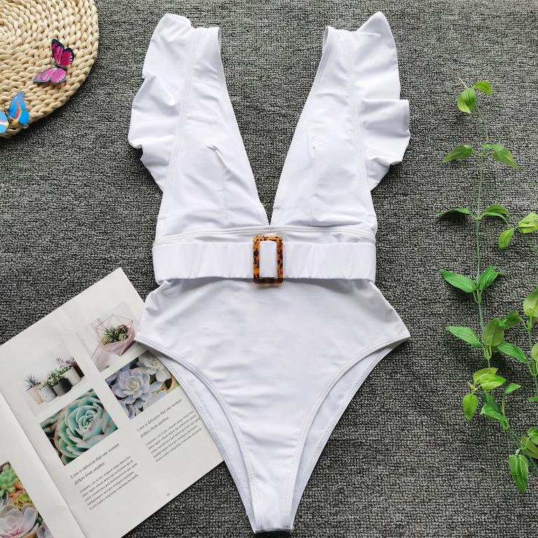 Mossha Belted solid white One-Piece Swimsuit
