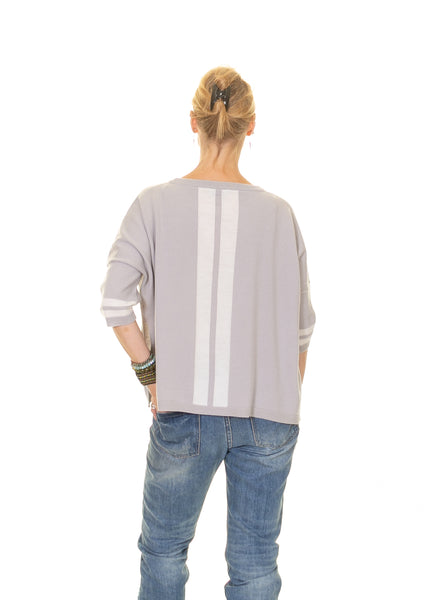 Jumper with Side Split and Stripes