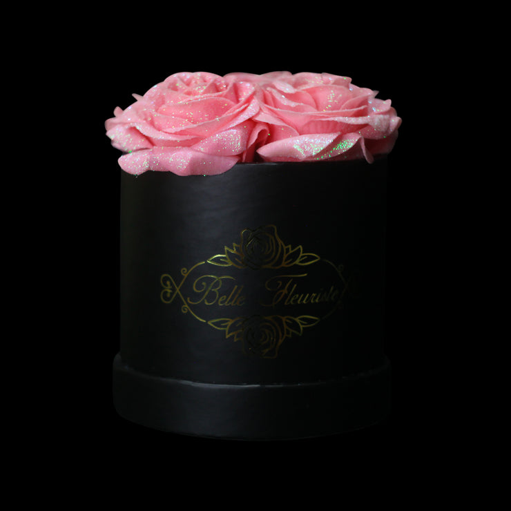 Bright Pink Glitter Roses - Black Box (5 Roses)