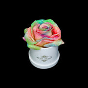 Rainbow Glitter Roses - White Micro Box (1 Rose)