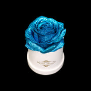 Blue Glitter Roses - White Micro Box (1 Rose)
