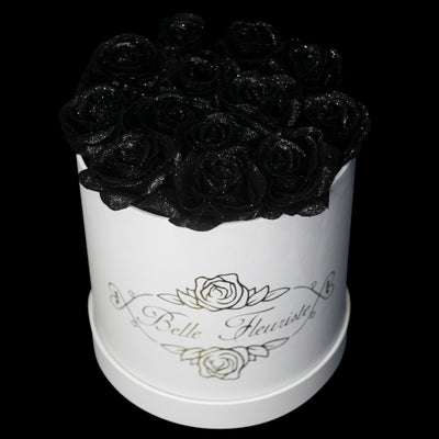 Black Glitter Roses - White Box