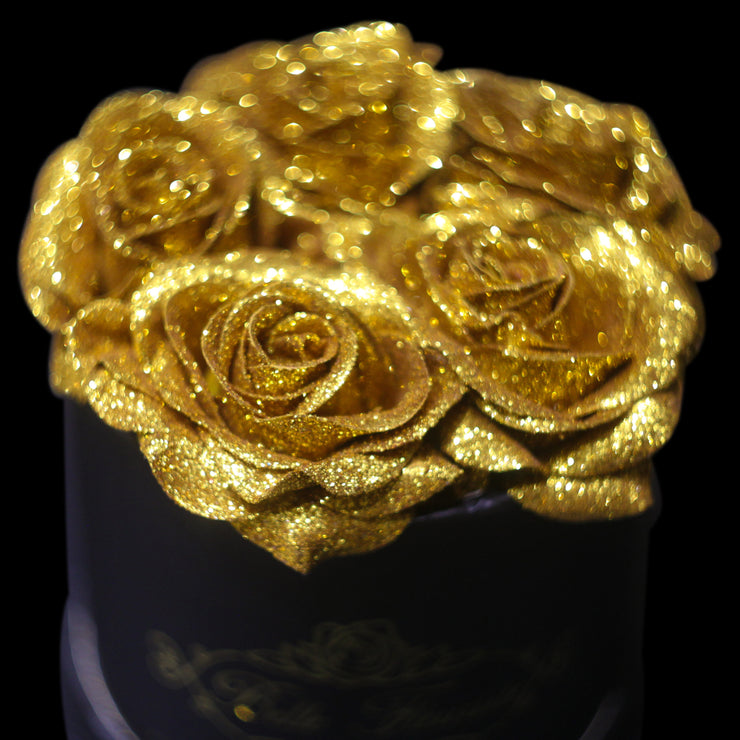 Gold Glitter Roses - Black Box (5 Roses)
