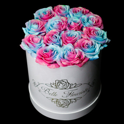 Bubblegum Glitter Roses - White Box