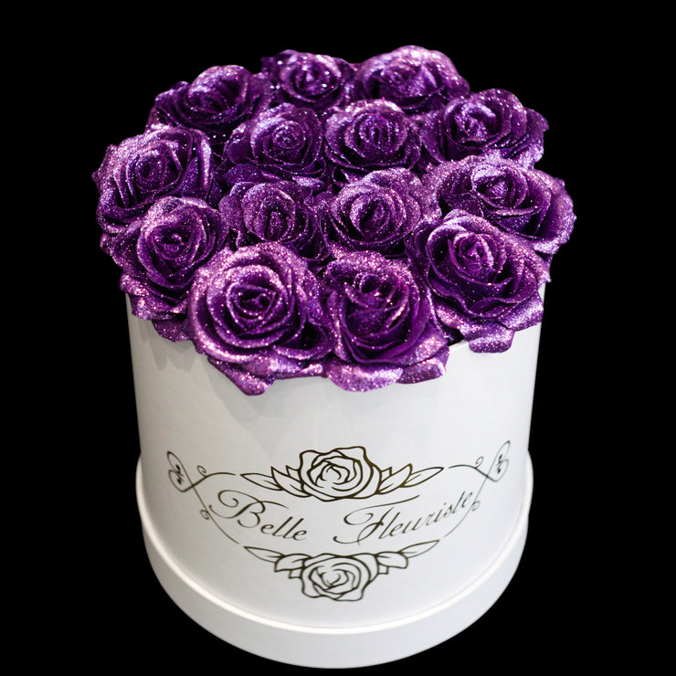 Purple Glitter Roses - White Box