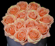 Peach Glitter Roses - White Box