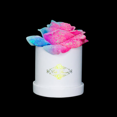 Bubblegum Glitter Roses - White Micro Box (1 Rose)