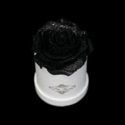 Black Glitter Roses - White Micro Box (1 Rose)