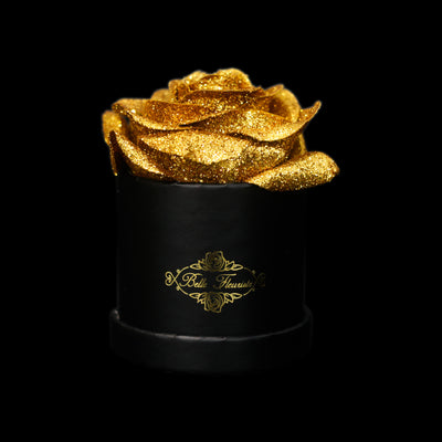 Gold Glitter Roses - Black Micro Box (1 Rose)