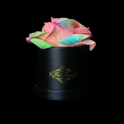 Rainbow Glitter Roses - Black Micro Box (1 Rose)