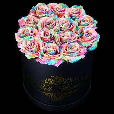 Rainbow  Glitter Roses - Black Box