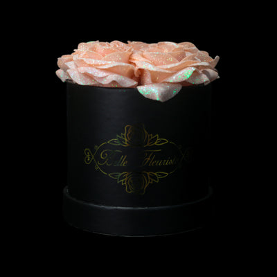 Peach Glitter Roses - Black Box (5 Roses)