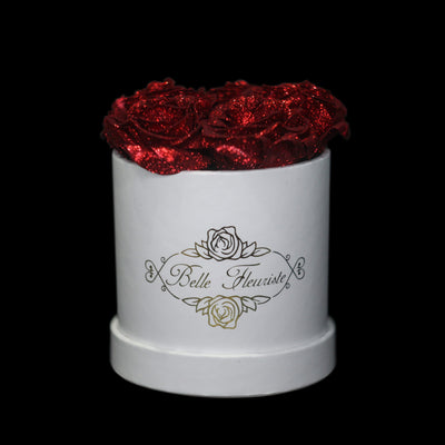 Red Glitter Roses - White Box (5 Roses)