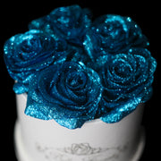 Blue Glitter Roses - White Box (5 Roses)