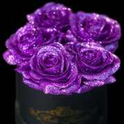Purple Glitter Roses - Black Box (5 Roses)