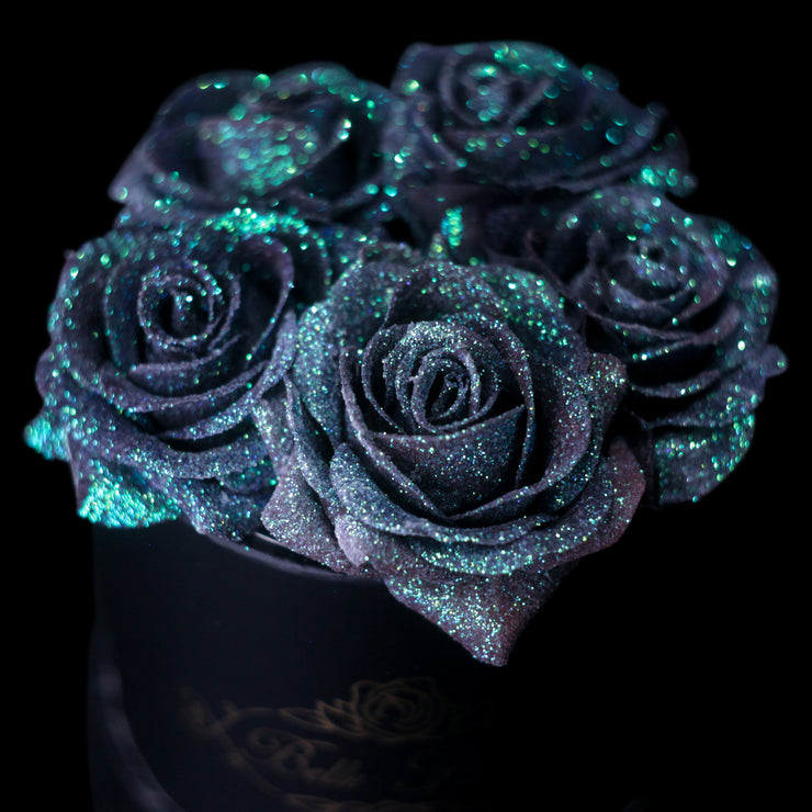 Mermaid Tail Glitter Roses - Black Box (5 Roses)