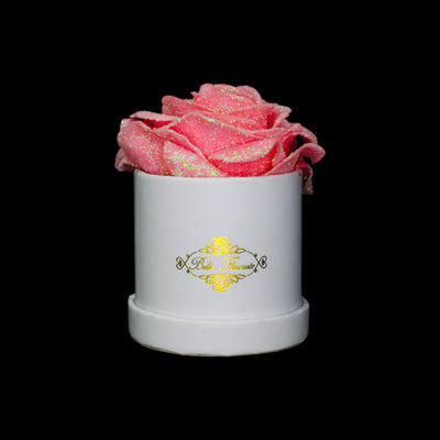 Pink Glitter Roses - White Micro Box (1 Rose)