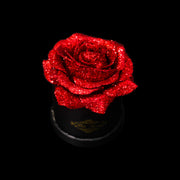 Red Glitter Roses - Black Micro Box (1 Rose)