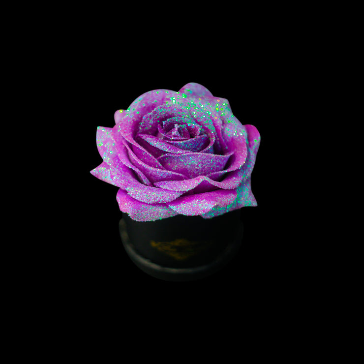Unicorn Purple Glitter Roses - Black Micro Box (1 Rose)
