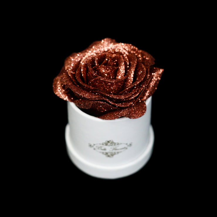 Bronze Glitter Roses - White Micro Box (1 Rose)