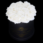 White Glitter Roses - Black Box