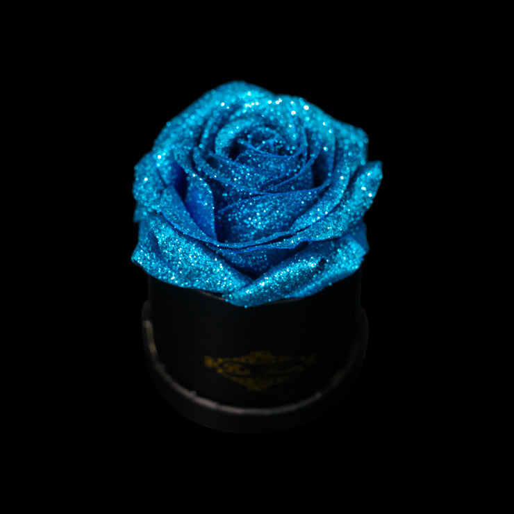 Blue Glitter Roses - Black Micro Box (1 Rose)