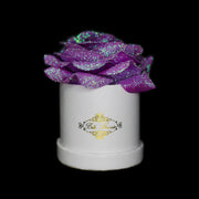 Unicorn Purple Glitter Roses - White Micro Box (1 Rose)