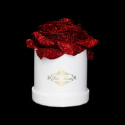 Red Glitter Roses - White Micro Box (1 Rose)