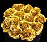 Gold Glitter Roses - Black Box